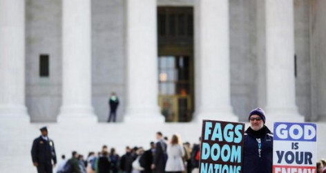 A member of the Westboro Baptist Church demonstrates outside the supreme court in Washington DC(Photo by Chip Somodevilla/Getty Images)