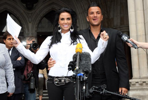 Katie Price & Peter Andre win a libel case against the News of the World in 2008 (Photo by Gareth Cattermole/Getty Images)