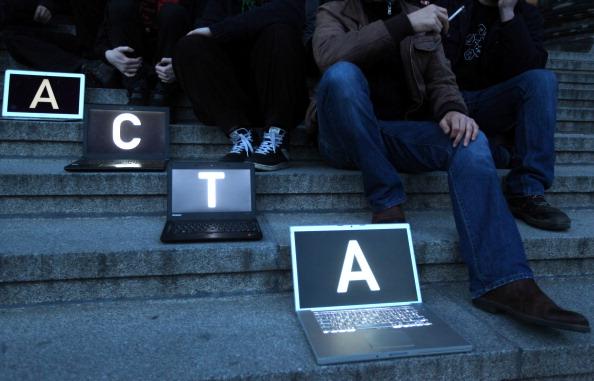 Activists Protest Internet Copyright Restrictions ACTA