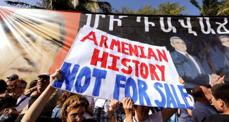 Protesters Demonstrate Against The Visit Of Armenian President