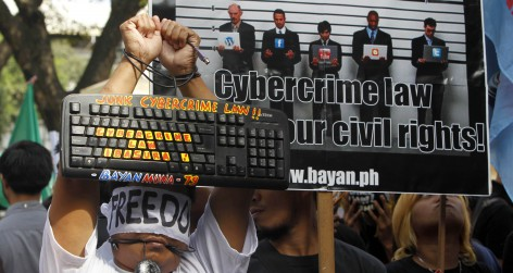 Netizens rally against the anti-cybercrime act in front of the Supreme Court in Manila