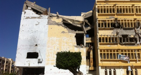 buildings in Zawiyah damaged in fighting 2011