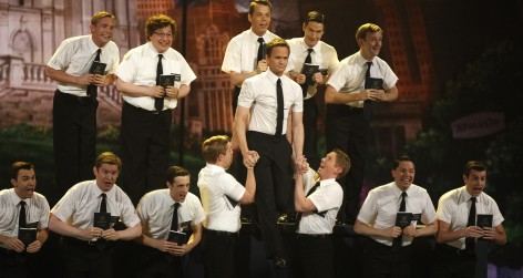 Actor Harris performs with the cast of The Book of Mormon during the American Theatre Wing's 66th annual Tony Awards in New York