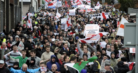 Members of the English Defence League march in Luton