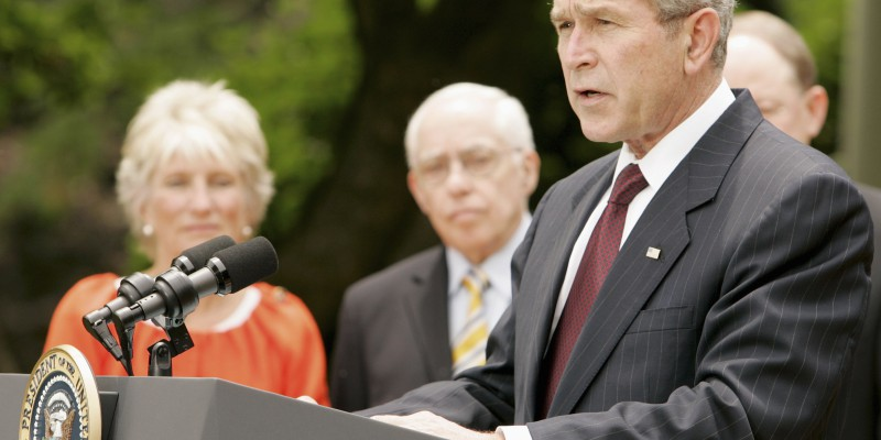U.S. President Bush signs FISA Amendments Act of 2008 in Rose Garden of the White House in Washington