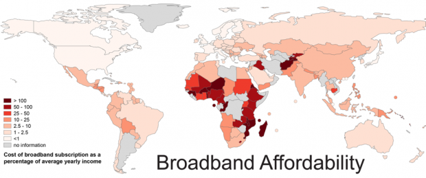 Broadband Affordability courtesy of Mark Graham and Stefano De Sabbata, Internet Geographies at the Oxford Internet Institute. (Creative Commons Attribution NonCommercial) Source: http://bit.ly/1AdD0No