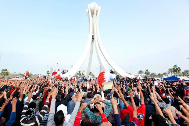 Protestors at Pearl Roundabout on the 19th February 2011. (Creative Commons Attribution) Image link: http://bit.ly/2fUc3Pt