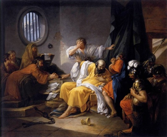 The Death of Socrates by Jacques-Phillip-Joseph de Saint-Quentin, 1762. (Image in the public domain.) Image link: http://bit.ly/2fpqskh